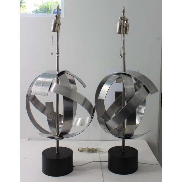 Vintage Modern Armillary Style Stainless Steel Table Lamps - the Pair For Sale - Image 4 of 13