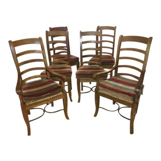Teak Wrought Iron Base Ladderback Chairs - Set of 6