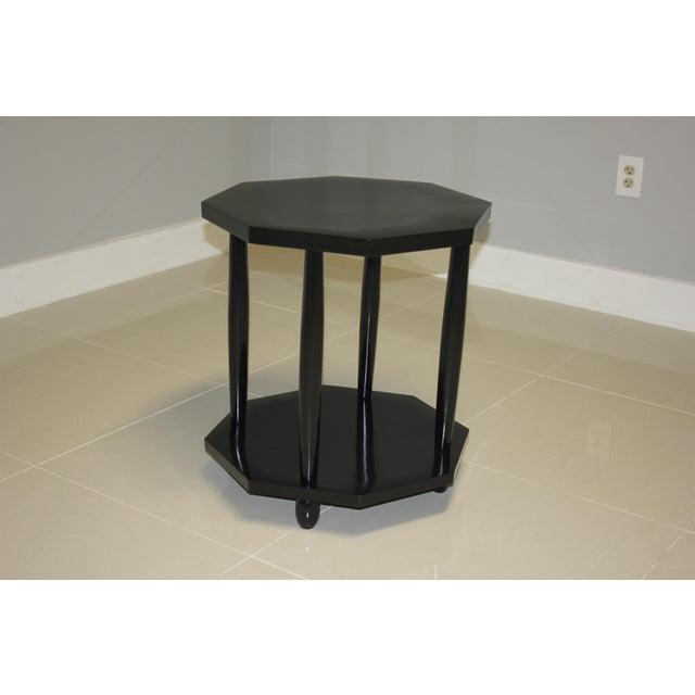 Ebony 1940s French Art Deco Black Ebonized Coffee/Side Table For Sale - Image 7 of 13