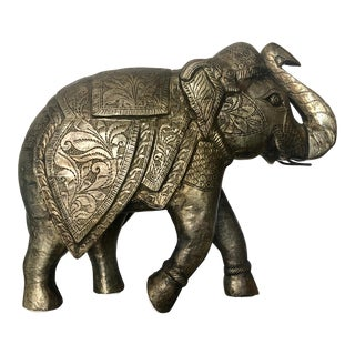 1980s Boho Chic Hand Stamped Bronze Finished Silver Elephant Figurine For Sale