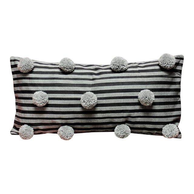 Black Handwoven Lurik Striped Pillow With Concrete Grey Pom-Poms - Image 1 of 7