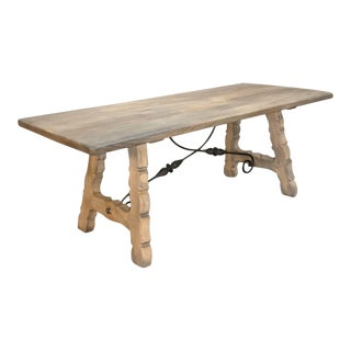 Rustic Spanish Stripped Oak Dining Table For Sale