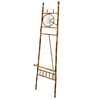 Early 20th Century Antique Chinoiserie Scorched Bamboo Display Easel For Sale