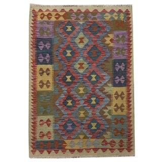 Southwestern Multicolored Small Geometric Hand Woven Carpet - 3' 3 X 4' 9 For Sale