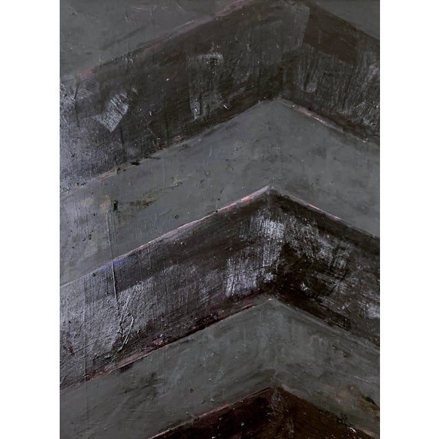 Black Minimal Black Geometric Painting For Sale - Image 8 of 10
