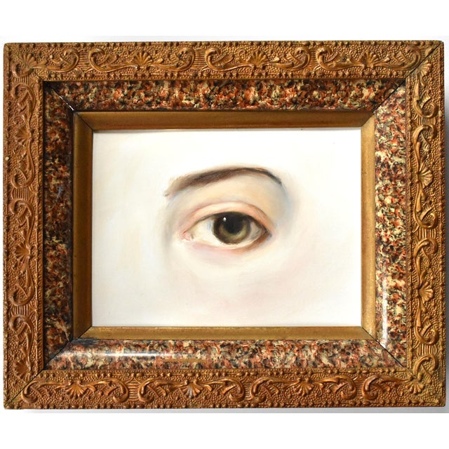 Contemporary Lover's Eye Painting by Susannah Carson in a Marbled Victorian Frame For Sale In San Francisco - Image 6 of 6