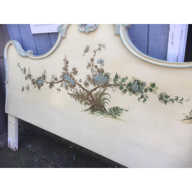 Wood Asian Style Hand Painted King Headboard For Sale - Image 7 of 7
