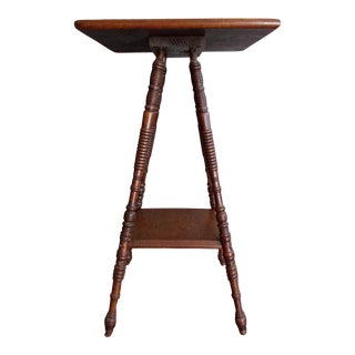 Antique Oak Plant Stand Lamp Table For Sale