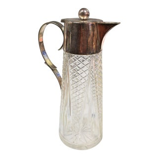 1940s Crystal & Silver Pitcher For Sale