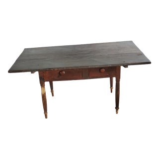 Primitive Two Drawer Farm Table For Sale