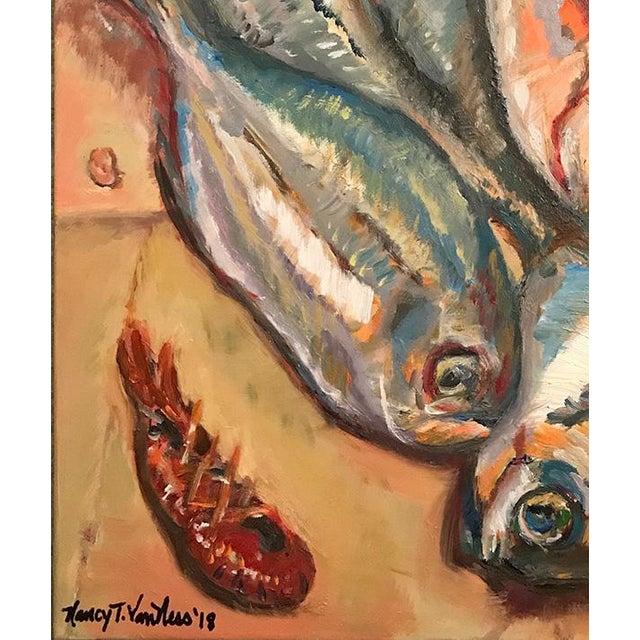 "Fish Crawfish 16""x20"" Original Oil Painting Signed Art Framed Green Artist 2"" Frame Nancy T. Van Ness, is a local artist..."