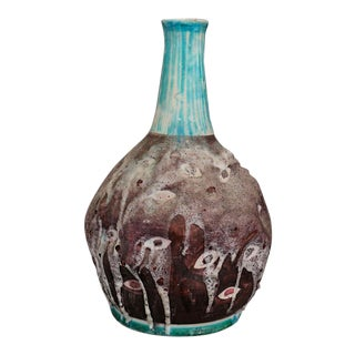 Italian Ceramic Vase MidCentury Enamelled by c.a.s. Vietri, Italy, 1950s For Sale