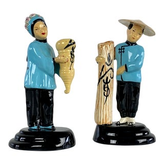 Walter Wilson Pottery Asian Figure Bud Vases - a Pair For Sale
