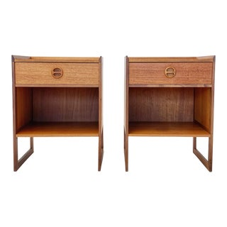 1960s Mid Century Scandinavian Arne Wahl Iversen Nightstands - a Pair For Sale