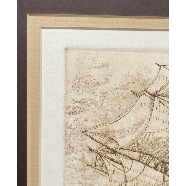 Late 19th Century 'India Trader' Nautical Etching After Charles Martin Hardie, Framed For Sale - Image 4 of 9