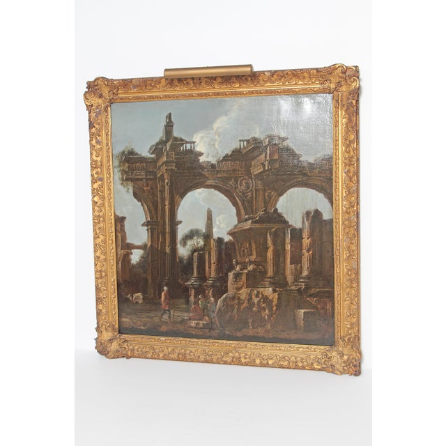 Baroque Baroque Painting / Classical Ruins Attributed to Giovanni Ghisolfi (1623-1683) For Sale - Image 3 of 13