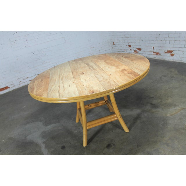 Mid-Century Ficks Reed Co. Round Rattan Game Table & Chairs - Image 10 of 11