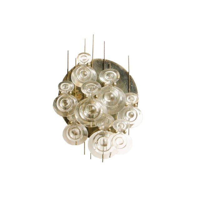 1965 Mid-Century Italian Glass And Brass Wall Sconce For Sale - Image 13 of 13