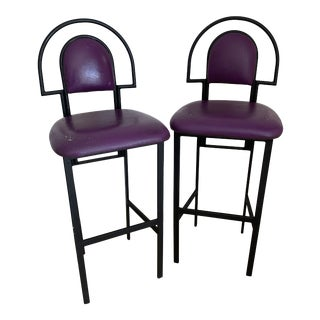 1980s Memphis Milano Style Metal Bar Stools With Purple Vinyl Seats - a Pair For Sale