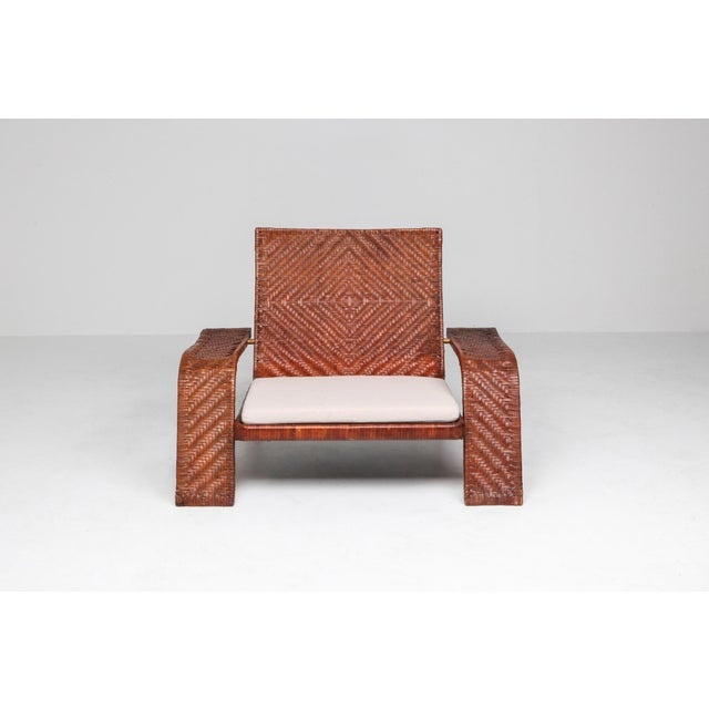 1970s 1970s Postmodern Lounge Chair in Woven Leather by Marzio Cecchi For Sale - Image 5 of 10