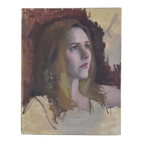Vintage Female w/ Auburn Hair Portrait Oil Painting Study - Image 1 of 6