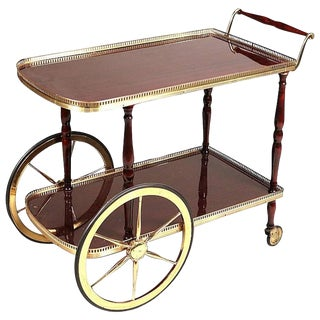 Gilt-Metal and Mahogany Bar Cart