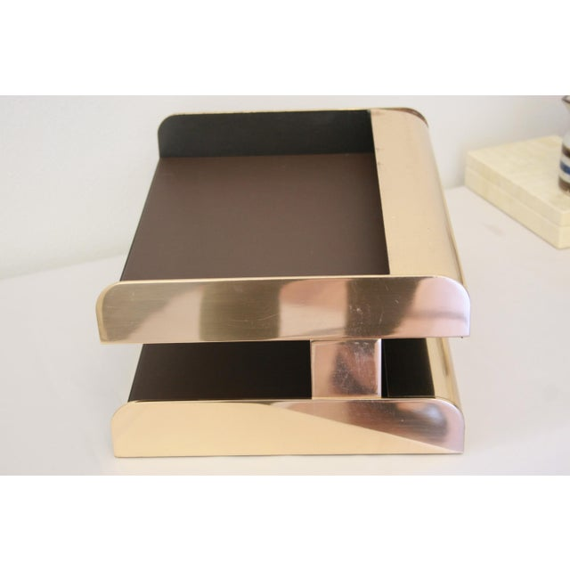 William Sklaroff Radius Two Brass Desk Tray For Sale - Image 5 of 11
