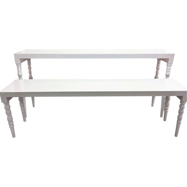 White Lacquer Hallway Tables - A Pair - Image 1 of 7