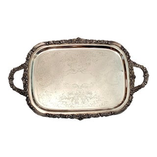 Vintage Silver Plated Butlers Tray For Sale