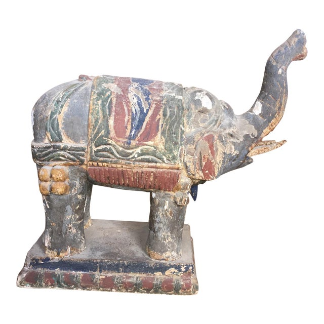 Hand Carved Elephant Statue - Image 1 of 5