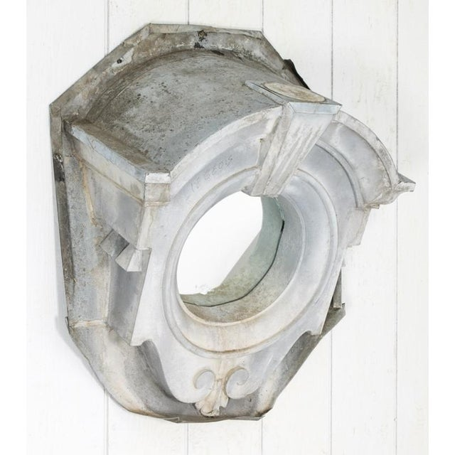 Œil de Boeuf Mirror circa 1870- Ox-Eye architectural dormer window from roof refurbished as a mirror. Features scroll-work...