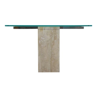 Vintage Travertine Console Table For Sale