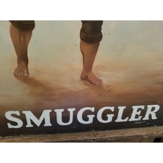 """Original UK Pub Sign - """"Smuggler"""" - Hand Painted - Double Sided - Metal Sign with Wood Frame For Sale - Image 12 of 13"""