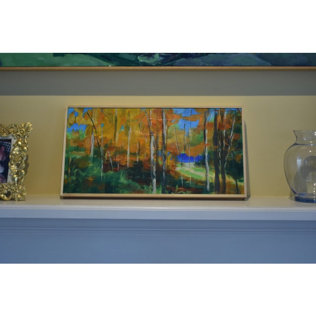 """Blue """"Autumn by the River"""" Acrylic Painting by Stephen Remick For Sale - Image 8 of 9"""