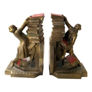 Eclectic Antique Brass Bookends For Sale