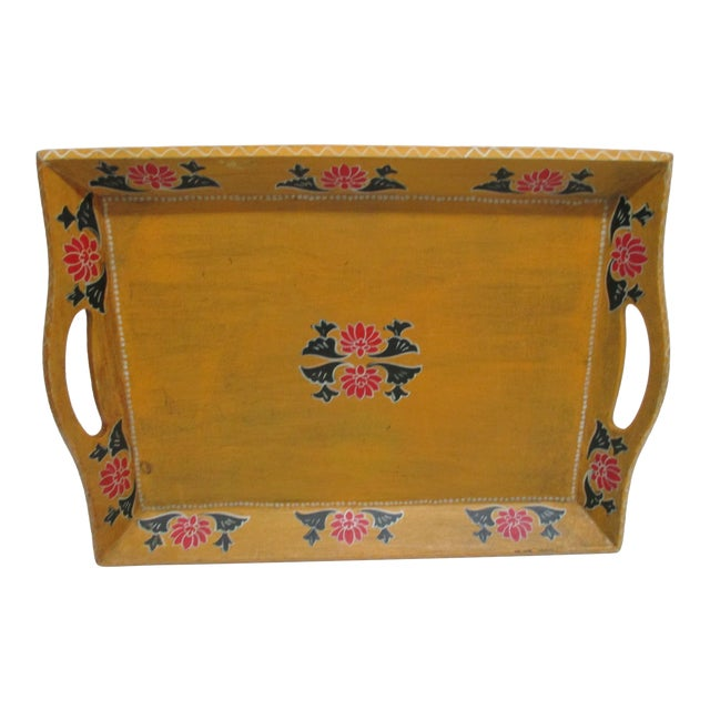 Vintage Floral Wood Hand Painted Serving Tray With Handles For Sale
