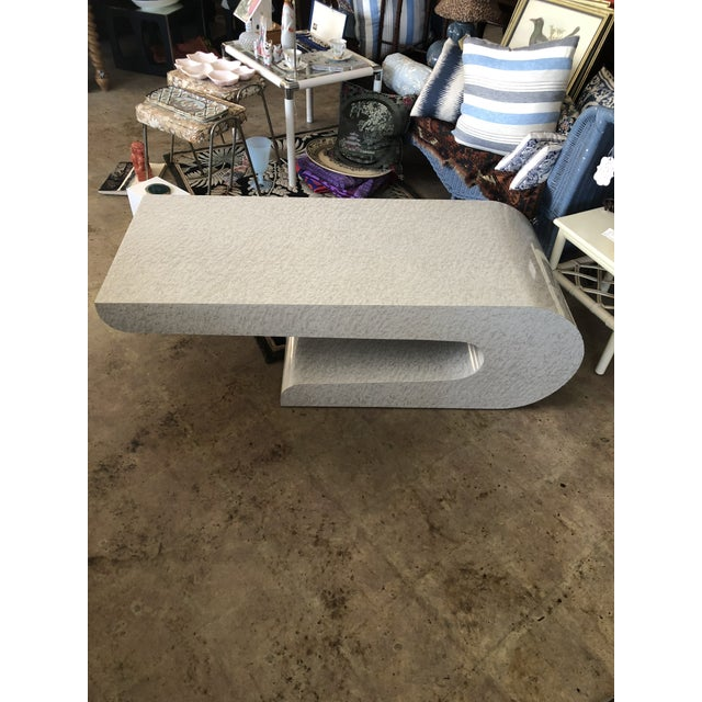 Gray Vintage Karl Springer Cantilevered Coffee Table For Sale - Image 8 of 12