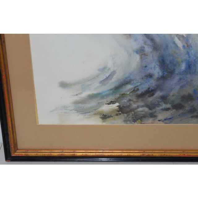 "Watercolor Mabel Palmer (1903-1998) ""Up River"" Original Watercolor c.1960s For Sale - Image 7 of 9"