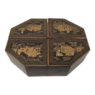 Mid 19th Century Chinese Export Chinoiserie Penwork Boxes - Set of 4 For Sale