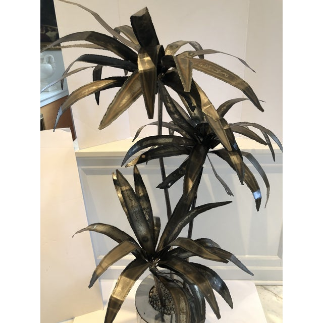 1960s Mid-Century Brutalist Steel Cut Potted Palm Tree For Sale - Image 5 of 12