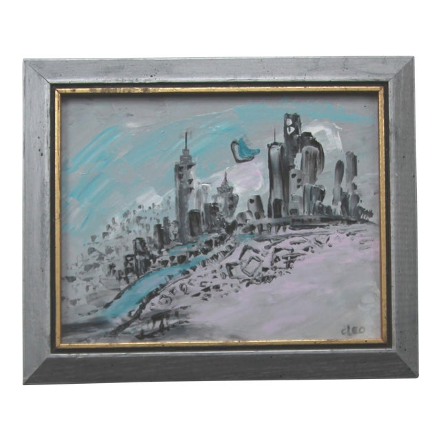 Art Deco Style Cityscape Painting - Image 1 of 3