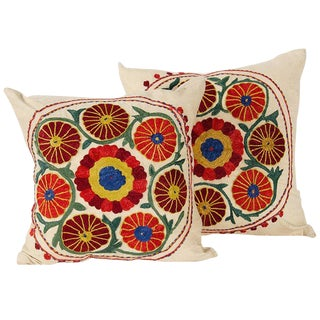 Vintage Embroidered Pillows For Sale