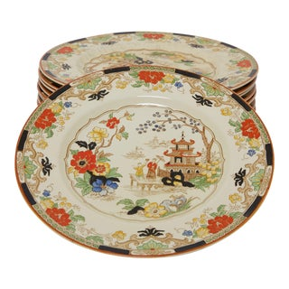Set of Ten 1920s Hand Painted Chinoiserie Dinner Plates