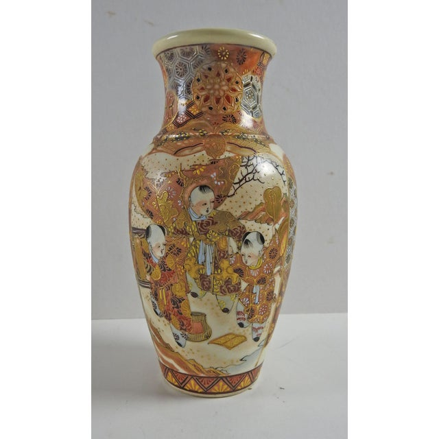 Antique Satsuma vase, hand painted with children. Unmarked with only an X on the bottom. Very good condition light...