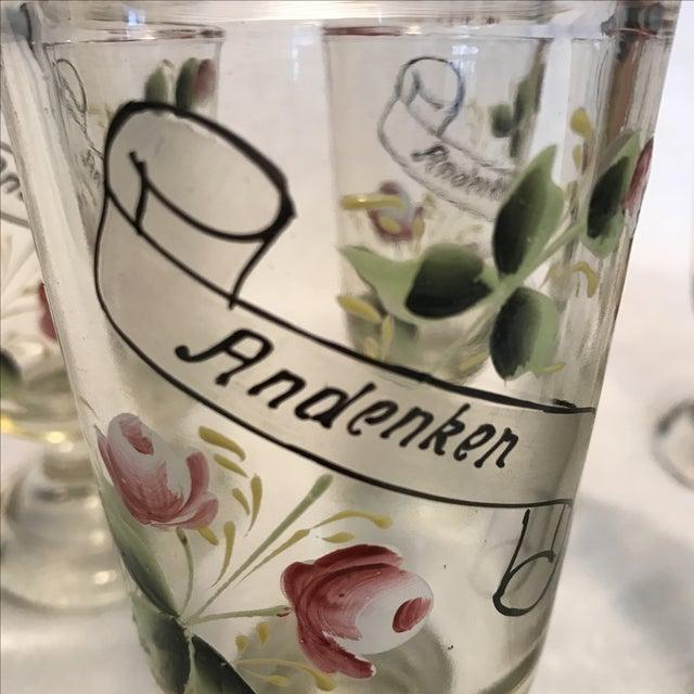 """German """"Andenken"""" Pedestal Glasses - Set of 5 For Sale - Image 7 of 8"""
