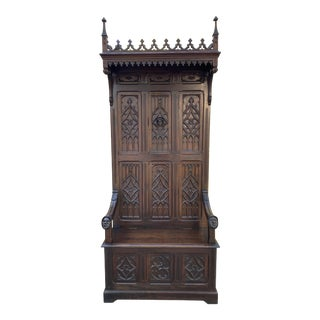 Antique French Hall Seat Monk's Bench Throne Chair For Sale