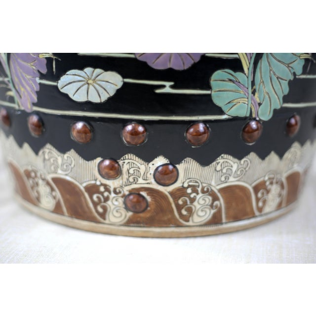 Vintage Black Garden Stool With Cranes and Lotuses For Sale - Image 9 of 12