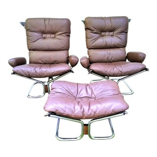 Ingmar Relling for Westnofa Pair of Leather Arm Chairs and Single Ottoman - 3 Pieces For Sale