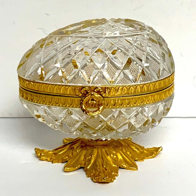 Baccarat Style Cut Glass and Ormolu Egg Motif Box For Sale - Image 4 of 10