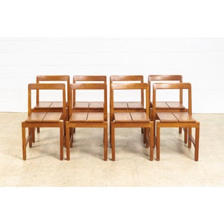 Vintage Mid Century Modern Solid Oak Wood Dining Side Chairs - Set of 8 Preview